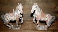 Two Antique Painted Pottery Chinese Tang Horse Models (2) Pair