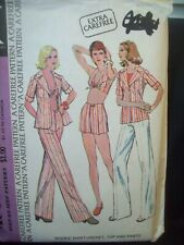Vintage McCalls Pattern 4052 Shirt Jacket Halter Top Pants Shorts Size 12  c.70s
