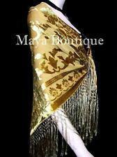 Silk Piano Shawl Wrap Scarf Burnout Velvet Antique Gold Hand Dyed Maya Matazaro