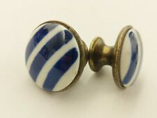 Vintage Brass and Blue White Striped Ceramic Drawer Pulls Cabinets