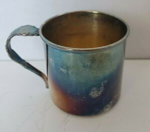 Vintage 1881 Rogers Silverplate Childs Cup With Spoon Handle