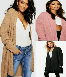 Women Ladies Long Oversize Baggy Chunky Knitted Cable Pocket Cape Cardigan Coat