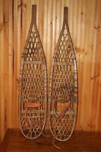 Vintage SNOWSHOES 46 x 10 PATINA Snow Shoes LEATHER BINDINGS NICE!!