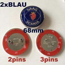 2xSAAB SCANIA Vorne und Hinten Emblem 68mm Motorhaube & Kofferraum 3pins/2pins