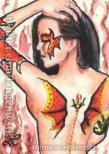 ACEO PEINTURE ORIGINALE Carte UNIQUE Dragon Lady Femme Nu SeXy Tatouage SEX