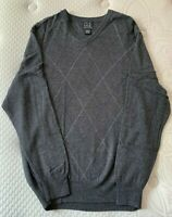 Jos A Bank V-Neck Pullover Gray Sweater Mens Large Long Sleeves Argyle cotton