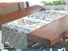 """Better Homes & Gardens GLOBAL STRIPE Blue Gray Reversible Table Runner 14"""" x 72"""""""