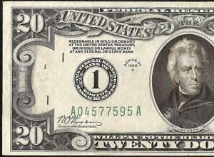 1928A $20 DOLLAR BILL NUMERICAL 1 FEDERAL RESERVE GOLD DEMAND NOTE Fr 2051-A