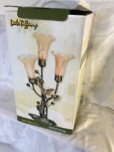 Dale Tiffany Vintage Lily Lamp, Dragonfly 3 Green Glass Shades, Dark Metal Base