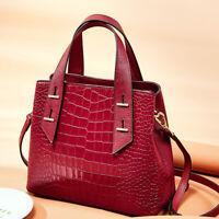 100% Genuine Leather Women's Crocodile Elegant Handbag Satchel Tote Bag Slingbag