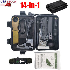 Survival Kit 14-In-1 Emergency Tactical Defense Equipment Outdoor Camping Tools
