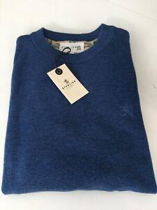 "Sterling 1958 Blue ""The Cambridge"" Crew Neck Cotton Jumper RRP £85 -Small - BNWT"