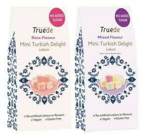 NEW NO ADDED SUGAR 150g Rose Mixed Flavour Mini Turkish Delight Vegan Soft Gift