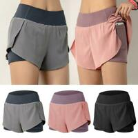 Women Sports Running Shorts Quick Dry Double Layer Yoga Shorts with Pocket