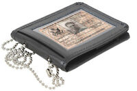 Black Leather Law Enforcement ID Holder With Neck Chain rothco 1138
