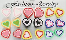 Fimo hearts post stud earrings 9 pair colorful Valentine's Day love party favors