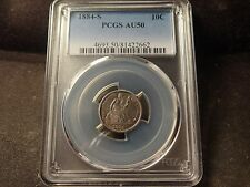 1884-S  PCGS AU-50  Seated Liberty Dime Full Devices  SLABZ