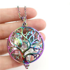 """C970 Rainbow Tree Owl Pearl Cage Round Charm Necklace 20"""""""