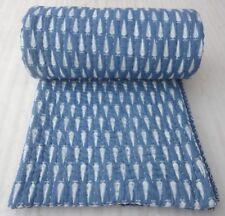 Indian Indigo Blue Kantha Pure 100% Cotton Filled Jaipuri Queen Size Quilt