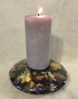 Beautiful Glass Candle Holder With Enclosed Flowers - Made in France