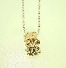 Dc 5 Plumeria Flower Lei Slide Pendant 6Mm Solid 14K Yellow Gold Diamond Cut