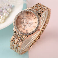 GENEVA Rhinestone Rose Gold Stainless Steel Women Quartz Wrist Watch Wedding
