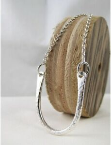 Hand Forged Sparkly Sterling Silver 925 Horse Shoe Pendant Necklace 17-24 Inches