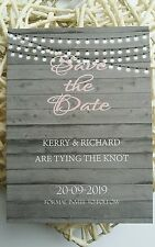 PERSONALISED SAVE THE DATE CARDS  x 50 with magnets and envelopes