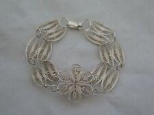 """Estate Sterling Silver 7"""" Filigree Flower Bracelet"""