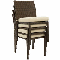 4 Pcs Brown Outdoor Wicker Patio Stacking Dining Chairs Set w/ Cushions Wedding