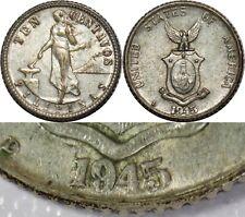1945-D US/Philippines 10 Centavos ~ DOUBLED DIE ~ Silver ~ Allen#9.05b ~ MX810