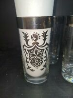 Kimiko Silver Banded Knight Crest Mid century modern Highball Glasses Set Of 4