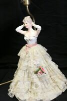 Vintage Lady Statue Lamp Kitsch Retro 1950s Boudoir Glamour Doll Lamp No Shade