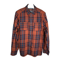 The North Face Mens Shirt Button Up Long Sleeve Orange Plaid Top Size Medium