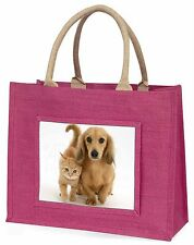 Dachshund Dog and Kitten Large Pink Shopping Bag Christmas Present Id, AD-DU1BLP