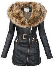 Damen kunstledermantel übergangsjacke damen jacke fellkragen winterjacke parka
