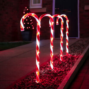 4 Pack   Christmas Outdoor LED Plug In Candy Cane Stake Lights   Garden Path