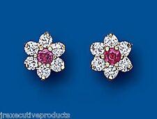 Ruby Earrings Ruby Studs Cluster Earrings Yellow Gold Ruby Earrings
