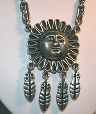 VINTAGE STERLING SUN FACE NECKLACE SIGNED TAXC0,MEXICO - WEIGHT 86 GRAMS