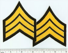 POLICE / Security Guard GOLD on Black Sergeant Rank Chevrons PATCH pair! SGT set