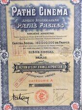 """Action """"PATHE CINEMA  """" - 100 Frs au Porteur - 1930"""