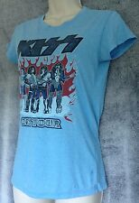 Kiss Rock Legend Size S Light Blue short sleeve Cotton Tour T Shirt womens New