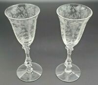 Vintage Cambridge ROSE POINT CLEAR 3 Oz. Wine Glasses Stems 3121