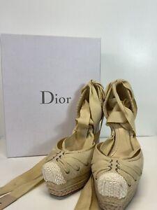 Rare Vtg Christian Dior by John Galliano Espadrille Heels 37.5