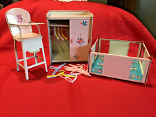 VINTAGE J CHEIN TIN DOLL FURNITURE PINK WARDROBE HANGERS HIGH CHAIR PLAY PEN
