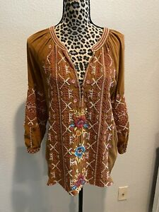 Johnny Was Embroidered Silk Blouse Size Xs