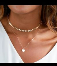 Multi Layer Sequins Choker Necklace Round Pendant Gold toned