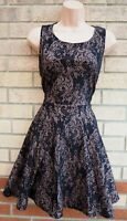 AX PARIS BLACK BEIGE FLORAL PRINT SLEEVELESS SKATER FLIPPY PARTY TEA DRESS 14 L