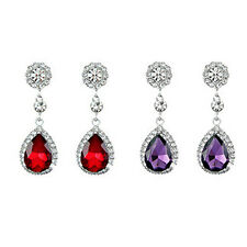 Red or Purple Rhinestones Women Dangle Drop Earrings Evening Bridal banquet