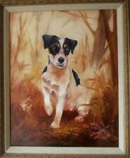 More details for large vintage oil painting of a lovable terrier dog by john redfern harris